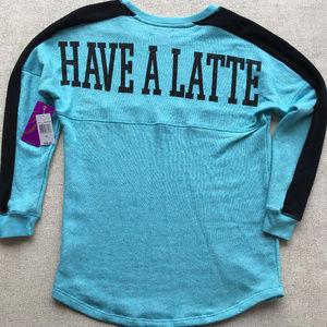 "NWT~""Have a Latte"" Soft & Long Sweatshirt Sz M"